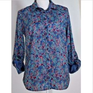 Talbots women's blouse size medium top shirt print